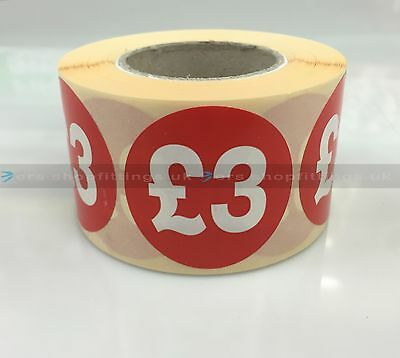 500x £3 RED PRICE SELF ADHESIVE STICKERS STICKY LABELS TAG LABELS FOR RETAIL