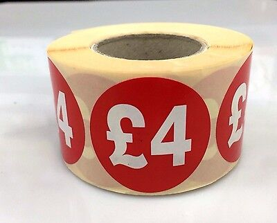 500x £4 RED PRICE SELF ADHESIVE STICKERS STICKY LABELS TAG LABELS FOR RETAIL
