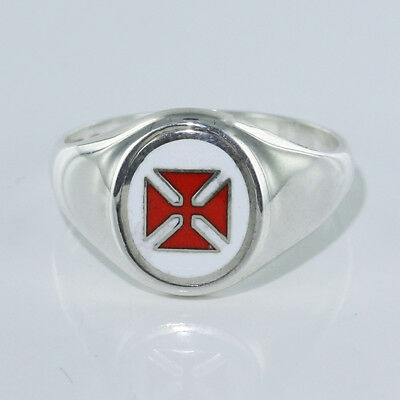 Hallmarked 925 Solid Silver Knights Templer Masonic Ring