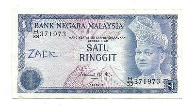 Malaysia 1 Ringgit ND (1972-76) in (VF) Condition Banknote P-7