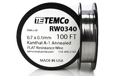TEMCo Flat Ribbon Kanthal A1 Wire 0.7mm x 0.1mm 100 Ft Resistance A-1