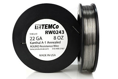 TEMCo Kanthal A1 wire 22 Gauge 8 oz (320.5 ft) Resistance AWG A-1 ga