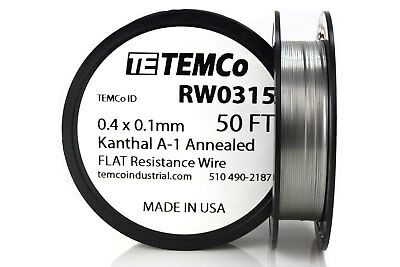 TEMCo Flat Ribbon Kanthal A1 Wire 0.4mm x 0.1mm 50 Ft Resistance A-1