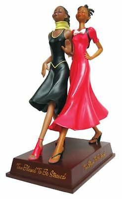 TOO BLESSED TO BE STRESSED Ladies Walking Figurine, African American Expressions