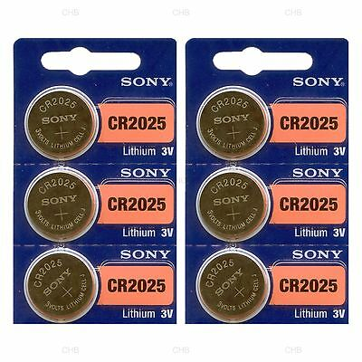 6 NEW SONY CR2025 3V Lithium Coin Battery Expire 2027 FRESHLY NEW - USA Seller