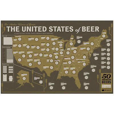 The United States of Beer Tasting Wall Map Poster - Beer Geek Brewery Bar Decor