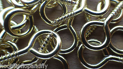50 SMALL ELECTRO BRASS (EB) PLATED SCREW EYES PICTURES DOLL HOUSE CRAFT ART 21mm