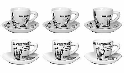 Lovely Bialetti Espresso Coffee 6 cup & saucers CAROSELLO-- IDEAL GIFT box!