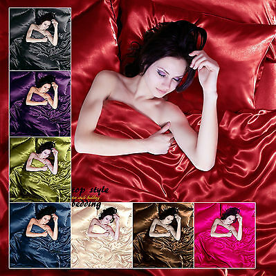 Luxury Silk 6Pcs Satin Complete Bedding Set Duvet Cover Fitted Sheet pillow case
