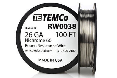 TEMCo Nichrome 60 series wire 26 Gauge 100 Ft Resistance AWG ga