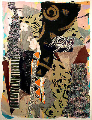 """Sally Anderson """"Assemblage '87 #8"""" Original Acrylic Painting and Collage Artwork"""