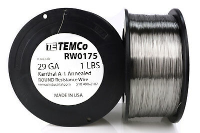TEMCo Kanthal A1 wire 29 Gauge 1 lb (3226 ft) Resistance AWG A-1 ga