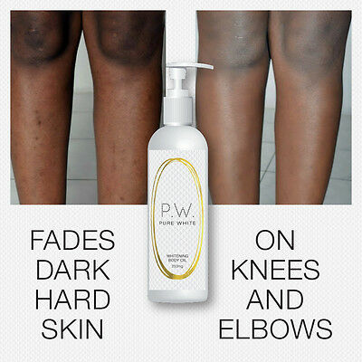 Pure White Whitening Body Oil Softens Fades Dark Hard Skin On Knees Elbows