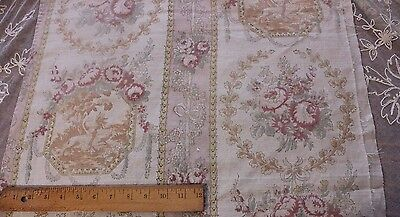 "Vintage French Time Worn Floral Linen Toile Fabric~1yd5""LX22""W~Pilllows,Frame"