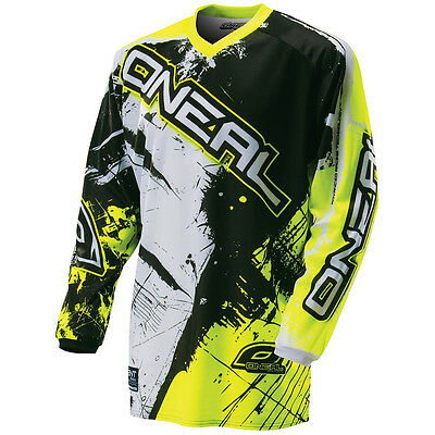 Oneal NEW 2017 Mx Element Shocker Dirt Bike Black Neon Yellow Motocross Jersey