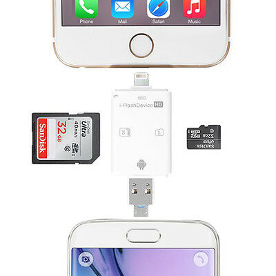 Flash Drive Lightning TF/SD Memory Card Reader for iPhone 5 6S 7 Samsung Android
