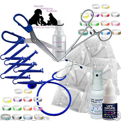 Whelping Kit Sterile Aspirator Forceps Cord Clamps Welping Pup Kitten Life Drops