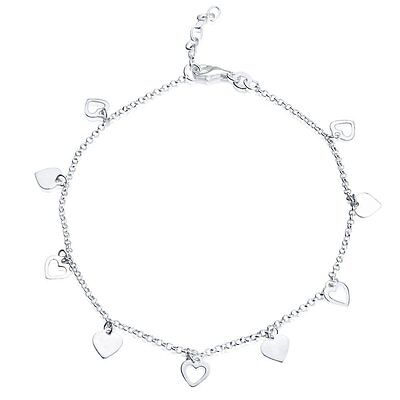 Ladies 925 Sterling Silver Ankle Chain with Hearts - Variable Length 22cm-25cm