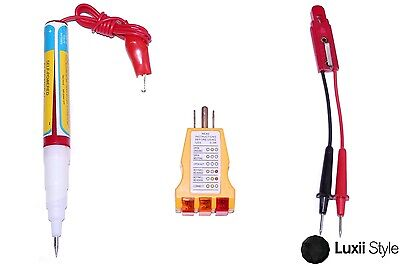 3pc Household Tester Set Circuit Receptacle Continuity Electrical Fuse Kit