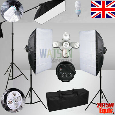 5 Head Photo Softbox Studio 2875W Continuous Lighting Stand+Boom Arm Light Kit