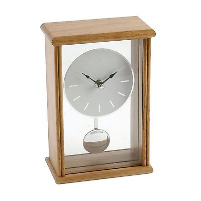 Oblong Large Vintage Oak Finish Pendulum Mantel Clock Mantle