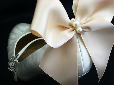 Ivory Shoe Clips 4 Shoes Pearl Ecru White Satin Bows For Bridal Shoe Clips