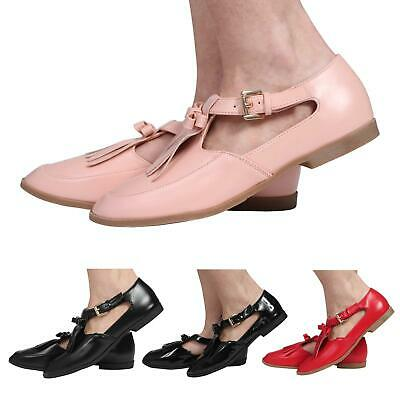 Ladies Womens  Cut Out Flat Geek T-Bar Tassle Office Work Pumps Shoes Size 3-8