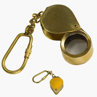 Exceptional Quality Brass Folding Magnifying Glass Keychain Nautical Key Ring