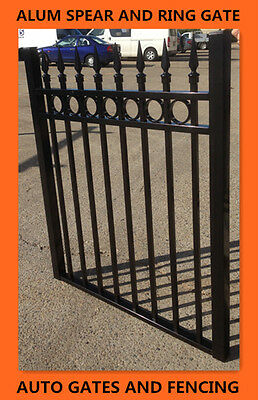 Alum Swing Single Gate  /Front gate Black Spear and Ring  1200mm X1000(w) mm