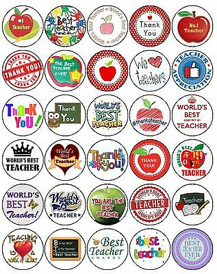 30 Thank You Best Teacher Premium 4Cm Mixed Rice Paper Cup Cake Toppers D1