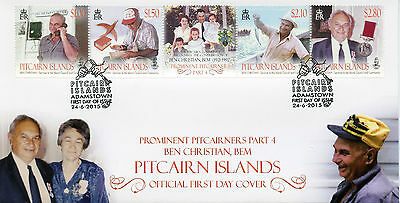 Pitcairn Islands 2015 FDC Prominent Pitcairners Ben Christian BEM 4v Strip Cover