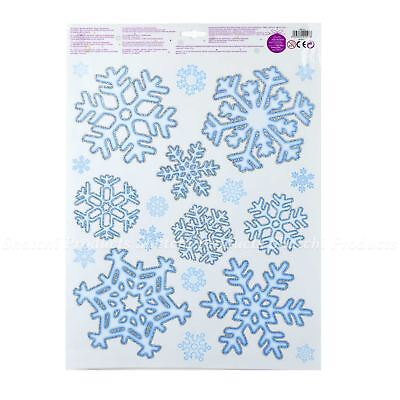 40 Xmas Christmas Window Sticker Decorations Snowflake Glitter Home Shop Decor