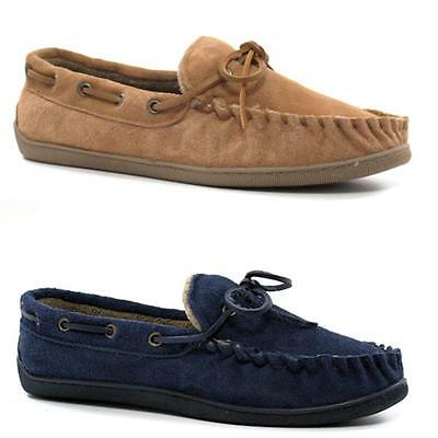 Mens Leather Slippers Real Suede Faux Sheepskin Fur Loafers Moccasins Shoes Size