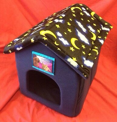 Cat Dog Rabbit Bed House Soft Cosy Folds Flat With Velcrow Removable Roof BLUE