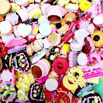 Mix Assorted Food Cup Cake Fruit Candy Resin Flatback Scrapbooking Buttons DIY