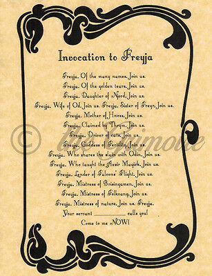 INVOCATION TO FREYJA, Book of Shadows Pages, BOS Page, Real Witchcraft Spell