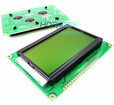 2pcs ST7920 5V 12864 128x64 Dots Graphic LCD Yellow green Backlight for EasyPIC5