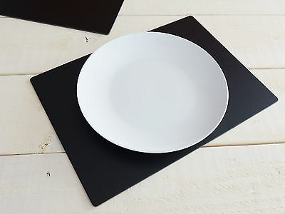 Set of 4 Black EXTRA LARGE Leatherboard PLACEMATS