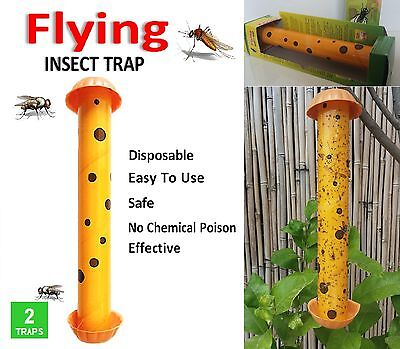 2 FLYING INSECT TRAPS Disposable MOSQUITO FLIES Glue Zapper Bug pest Home Garden