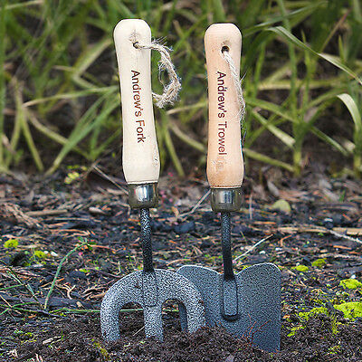 Personalised GARDEN TOOLS Gift Set Fork & Trowel with Engraved Handles