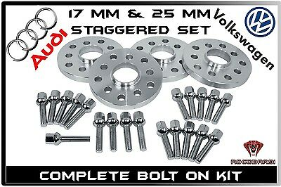 17 Mm & 25 Mm Staggered Audi & Volkswagen 57.1 Hub Centric Wheel Spacers Set