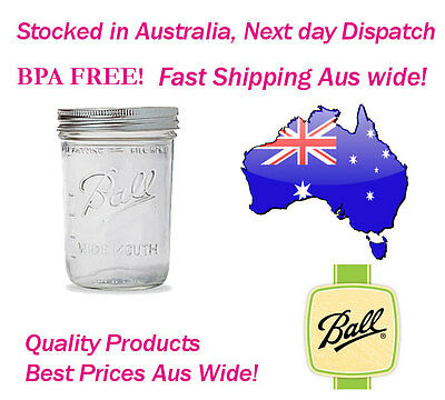 Ball wide mouth Pint mason Preserving Jars Half case of 6 (500ml)