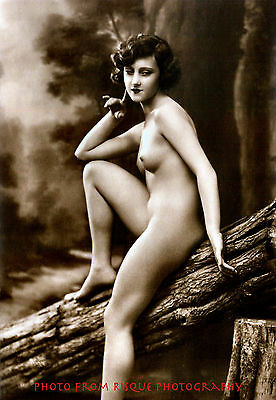 """Nude Woman Sits On Log Photo Print 8.5x11"""" Vintage Lovely Naked Female Outdoors"""