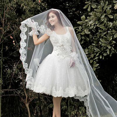 New White Cathedral Long Lace Edge Bride Bridal Wedding Veil