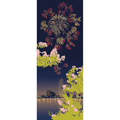 Japanese traditional towel TENUGUI COTTON Crape myrtle and summer night (HA)