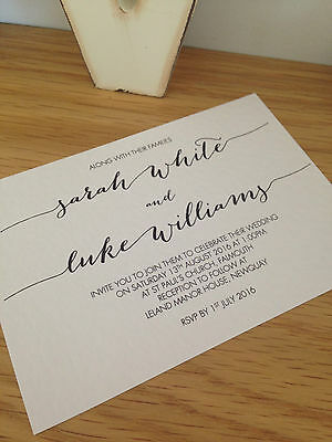 30 x Personalised Handmade Calligraphy Wedding Evening Reception Invitations