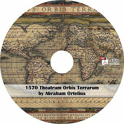 1570 Theatrum Orbis Terrarum by Abraham Ortelius - 53 Maps on CD - Modern Atlas