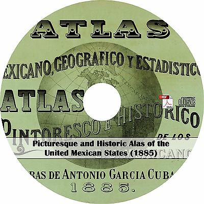 1885 Atlas of Mexico - History Genealogy Maps Book on CD