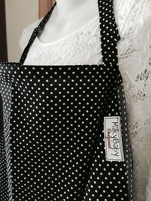 "NEW  >NURSING COVER like HOOTER hider* BREASTFEEDING  XL 42X27"" DOTS BLACK"