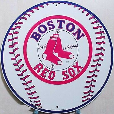 Boston Red Sox Baseball rundes Blechschild Flach Neu aus USA 30x30cm S882